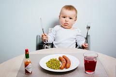 Dinner is served (Mikael T) Tags: baby funny sausage meal peas tabasco bildekritikk