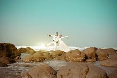 E&D (adesamfoto) Tags: blue wedding friends sky people colour love beach sunrise vintage hearts couples gown bridal pantai prewedding pernikahan nikond7000