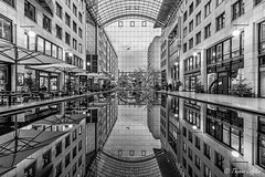 World Trade Center Dresden (funtor) Tags: city bw dresden germany reflection building wtc atrium spiegelung