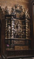 Aarschot, Vlaams Brabant, O.-L.-V. kerk, altar of St. Joseph (groenling) Tags: aarschot belgië belgium be vlaamsbrabant vlaanderen flanders brabant hageland olvkerk olv altar altaar wood carving woodcarving houtsnijwerk hout saint joseph schoemaeker scheemaeckers angel engel cherub putto coatofarms wapen monogram