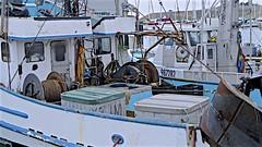 Working Boats (sswj) Tags: workingboats boats harbor harborlife boatgear fishingboats pillarpointharbor sanmateocounty northerncalifornia california halfmoonbay pacificcoast pacificocean westcoast composition scottjohnson existinglight naturallight availablelight leicadlux4 abstractreality weathered dock marine