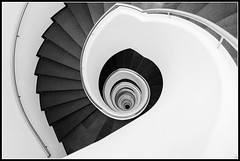 endlessly down (mcmumpitz) Tags: bw white black stairs germany munich bavaria blackwhite stair treppe staircase skylounge schwarzweis