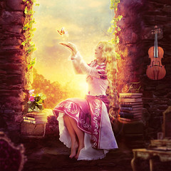A pray for you (Fleuret) Tags: sunset flower yellow photomanipulation butterfly shine princess violin manip rapunzel fairytail
