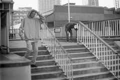 Dave Wallace - Moorgate Handrail - Ilford HP5+ (old_skool_paul) Tags: life street city travel people bw white black london film up fashion set dave contrast photoshop 35mm lens 50mm high nikon pretty shoot locals skateboarding time sweet no flash grain hipster culture places save scan southbank iso sidewalk negative crew cover 400 skate only skateboard wallace hp5 vans skater behind 20 pushed f18 vivitar scenes ilford dazed 56 leake supreme thrasher wycombe fg fg20 f35 200mm 2013 veho oldskoolpaul