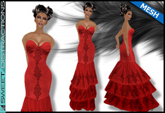 Mesh Tiered Lace Mermaid Gown in Red (Sweet Distractions) Tags: life mesh sweet lace sl bridesmaid second gown mermaid rigged distractions