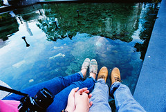 hello fountain (Minh-Hoang Ly/Chibo) Tags: reflection love water fountain rock hand legs together 400 dm paradies