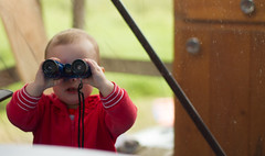 Day 182 - A bird watcher in the making (Sharon's Shotz) Tags: family baby ontario girl cottage binoculars granddaughter day182 canon50mm plevna screenhouse canoneos7d canon7d day182365 3652013 lightroom4processing 365the2013edition 01jul13