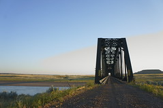 Bridge Over Yellowstone River (FiddleHikeR) Tags: railroad bridge sunset usa