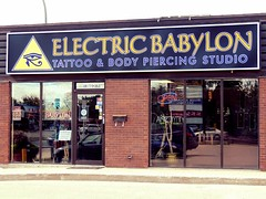 Electric Babylon (knightbefore_99) Tags: winnipeg manitoba canada city stboniface french art piercing tattoo electricbabylon body mb studio crazy dumb idiotic