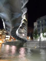 Bridge spine (Nekoglyph) Tags: bridge water metal night docks reflections river dark bristol lights under rowing boattrip avon snaky
