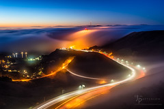 Dream State (Jim Patterson Photography) Tags: sanfrancisco california city morning travel mist beautiful fog sunrise stars dawn bay glow traffic central foggy scenic goldengatebridge bayarea metropolis jimpattersonphotography jimpattersonphotographycom seatosummitworkshops seatosummitworkshopscom