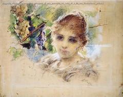 Eugenio Prati Ragazza con grappoo d uva pastello su tela 47 x 59 cm Collezione privata