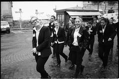 (Action & Reaction) (Robbie McIntosh) Tags: leica girls blackandwhite bw film monochrome smile analog 35mm women eyecontact kodak trix strangers streetpho