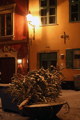 Old Town in Snow (szefi) Tags: winter snow night dark evening darkness sweden stockholm sverige oldtown