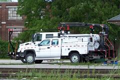 CP L07113 Chevrolet 2500 HD extended cab hi-rail MOW truck Woodstock, Ontario Canada 07202007 ©Ian A. McCord (ocrr4204) Tags: white ontario canada truck kodak camion mow vehicle pointandshoot mccord woodstock blanc z740 maintenanceofway ianmccord ianamccord