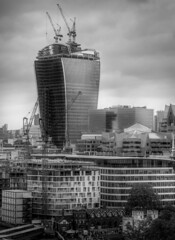 London Construction Skyline B&W