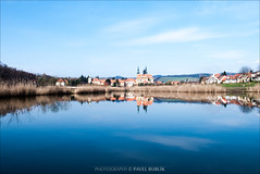 velehrad (pajus79) Tags: lake reflection building church water reeds temple pond village view basilica towers hills assumption velehrad veligrad
