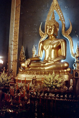 19-483 (ndpa / s. lundeen, archivist) Tags: flowers color film statue 35mm thailand temple gold golden candles sitting bangkok buddha buddhist nick altar thai 1970s wat gilded 1972 seated 19 1973 gilding goldenbuddha dewolf marbletemple watbenchamabophit nickdewolf photographbynickdewolf reel19