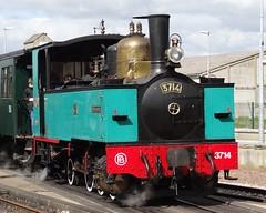 CFBS Steamlocomotive N 3714 in the station of Noyelles-sur-Mer. (Franky De Witte - Ferroequinologist) Tags: de eisenbahn railway estrada chemin fer spoorwegen ferrocarril ferro ferrovia