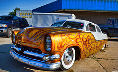 Traditional Rod (Chad Horwedel) Tags: white classic car yellow illinois flames chopped morris custom airbrush ratrod traditionalrod