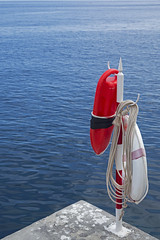 Madeira: Into the sea... (Mr.Enjoy) Tags: ocean life above blue red sea summer rescue white holiday seascape color colour detail reflection beach water contrast corner swimming swim fun island design mar stand seaside cool nice jump marine waves mood jetty mergulho watch guard perspective lifestyle diving can rope device surface calm quay line atlantic safety clean enjoy end land access torpedo hook bathing emergency simple refreshing buoys inviting buoy peer easygoing burnside boia cais flotation madeiraisland