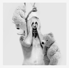 Abduction (ingilee) Tags: blackandwhite man monochrome monster naked nude shower iceland alien touch creative surreal reykjavik dreaming thoughts teddybear dreams creating abduction ingirn ingirnhafsteinsson ingilee
