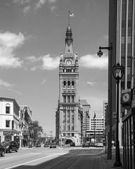 Milwaukee City Hall (democritus21) Tags: usa monochrome architecture cityhall clocktower cupola milwaukee wi perspectivecorrected romanesquerevivalstyle henryckoch