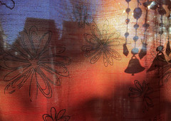 Curtain Light & Pattern (craig_schenk) Tags: light pattern shape sillhouette red blue orange curtain iphone iphone5s abstract house home
