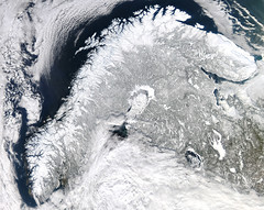 Snowy Scandinavia (sjrankin) Tags: 13march2017 edited nasa modis scandinavia snow ice europe sweden norway finland russia atlanticocean arcticocean balticsea mountains northsea clouds