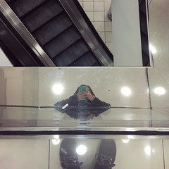 (Ashley Jaye) Tags: marshallfields macys daytons departmentstore closing escalator selfportrait instagramapp square squareformat iphoneography amaro