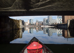 Entering Salthouse Dock (.annajane) Tags: liverpool dock water reflection salthousedock merseyside canoe bridge oneparkwest uk england