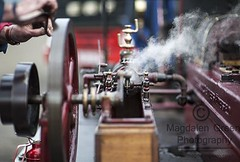Red Steam Engine  - Errol Airfield  Tayside Scotland (Magdalen Green Photography) Tags: vintage scotland dof dundee f14 manatwork 85mm scottish tayside steamrally vintagesteamrally stationaryengines 0780 precisionengineering steamvehicles iaingordon redsteamengine magdalengreenphotography errolairfield scottishtractionenginesociety