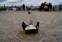 Tea on the South Bank (Sarah Marston) Tags: sky people elephant london yellow clouds bag table model crane pigeon bin southbank tablecloth stpaulscathedral railings minature