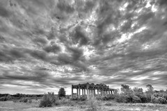 D Line Drama (k.landerholm) Tags: county sky bw minnesota clouds entropy landscape ruins flickr decay historic twincities dakota hdr d800 gow rosemount dakotacounty 7xp umorepark gopherordnanceworks