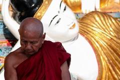 Monk and Buddha in Shwedagon Pagoda, Yangoon, Myanmar, 2012