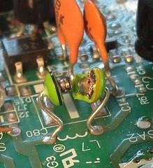 Blown apart (morebyless) Tags: storm phone boom panasonic bust lightning bang relationships thunder circuitboard solder resistors knackered breakup joints capacitors