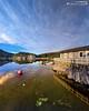 A dead calm lies over the camp (dieLeuchtturms) Tags: norway drag norge europa europe norwegen 4x5 vikna waterreflection waterreflections ferienhaus nordtrøndelag wasserspiegelung