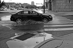 >> splash << (damonabnormal) Tags: street city urban motion philadelphia water movement october fuji action pa philly splash crosswalk audi puddles phl badweather urbanphotography delawareave urbanite 2013 the215
