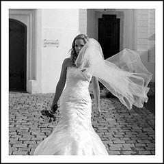 Bride (Dominique-Thomas) Tags: wedding blackandwhite bw film girl bride blackwhite czech noiretblanc grain noflash blonde filmisnotdead blackwhitephotos canoscan9000f