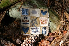 Stitch with rock and pinecones (Woods Whisperer, Ram Krishan Kaur) Tags: trees tree bird art fall thread leaves pine forest studio photography berry woods vermont quilt heart stitch nest embroidery sewing textile evergreen pineneedles bark embellishment stitching crow ferns fiberart patchwork fiber crows quartz gratitude stitched embroidered embellished handstitched ravens tapestry pinecones embellish textileart artquilt putneyvermont fiberartist tafa artcloth valdani valdanithread westminstervermont vision:mountain=0529 vision:outdoor=0837