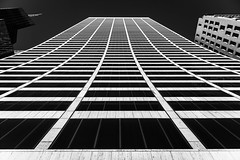 Curvy Building - Explored (Sean Batten) Tags: windows sky blackandwhite bw usa newyork lines america skyscraper grid nikon unitedstates manhattan curves d800 gracebuilding 2470