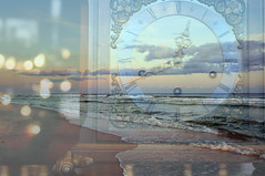 time and tide (KelliCampbell) Tags: ocean sunset clock advent newyear times tides ticktock madeleinelengle