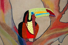 A Toucan for the Tree (Caine, Fleur du Mal) Tags: coloring crayons colouring oilpastels handstitched crayola muslin handstitching teadye