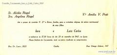 Convite Casamento Iara e Luiz Calos 1967