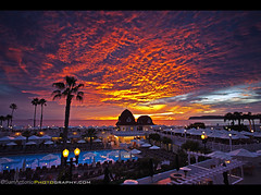 Christmas Light Show at the Hotel Del Coronado  San Diego, California (Sam Antonio Photography) Tags: california christmas city travel sunset vacation sky orange