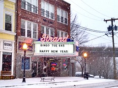 Strand Theater in snow. (63vwdriver) Tags: sign strand vintage marquee theater neon connecticut ct seymour seymourct uploaded:by=flickrmobile colorvibefilter flickriosapp:filter=colorvibe