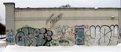 Faces Of Graffiti (FrogLuv) Tags: winter snow faces fword abandonment urbex detroitmichigan ruinporn