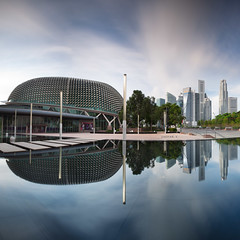 Durian and the churros (Jazpar) Tags: longexposure morning panorama reflection architecture buildings singapore cityscapes le esplanade durian cbd churros {vision}:{sky}=0961 {vision}:{outdoor}=0684 {vision}:{mountain}=0816 {vision}:{clouds}=0948