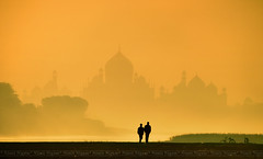 A Walk To Remember.... (nimitnigam) Tags: world morning winter india mist monument bicycle silhouette river photography golden back nikon photos near indian side foggy landmarks 7 taj mahal tajmahal images hour monuments incredible bagh winters wah wonders nimit niga silhouttes nigam yamuna incredibleindia mehtab d3000 nimitnigam
