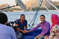 Cast members Ezz Eldeen Adel of III, Mustafa Ahmed Hemdan of Recyclobekia, and Lobna Shaheen of Basata on Nile Cruise in Cairo, Egypt.